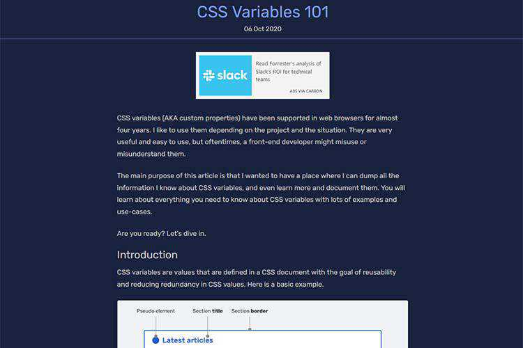 Example from CSS Variables 101