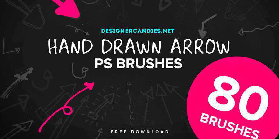 Hand Drawn Arrows PS Brush Set free photoshop brushes ABR