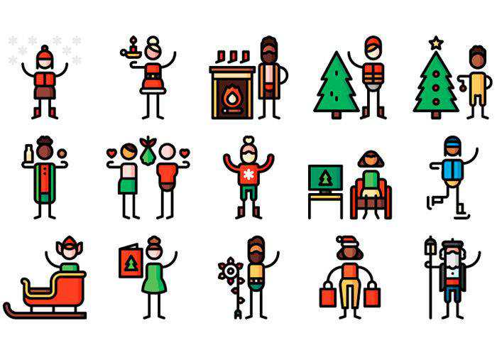 Example of The Free Christmas Pictogram Collection (50 Icons, EPS & AI)