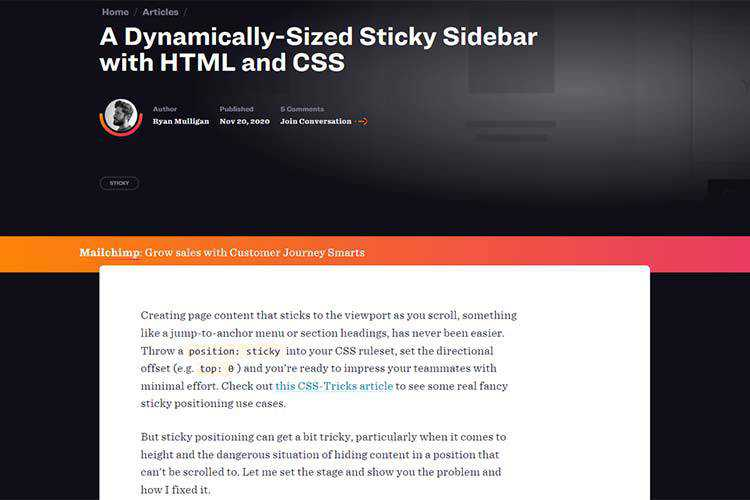 Example from A Dynamically-Sized Sticky Sidebar with HTML and CSS