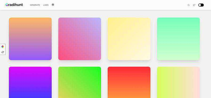 Gradihunt CSS gradient web-based tool free web design example