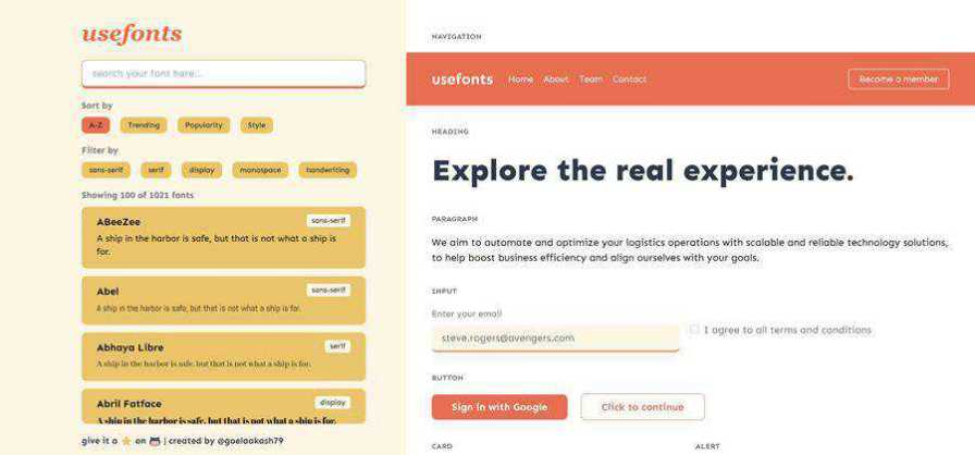 useFonts web-based tool free web design example