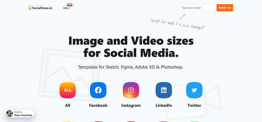 SocialSizes social media image and video sizes web-based tool free web design example