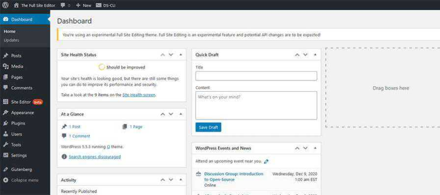 The Site Editor link in the WordPress dashboard.