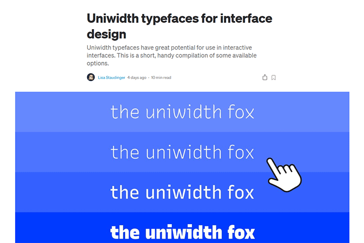 Example from Uniwidth typefaces for interface design