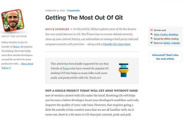 Example from Getting The Most Out Of Git