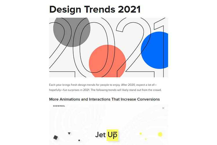 Example from Design Trends 2021