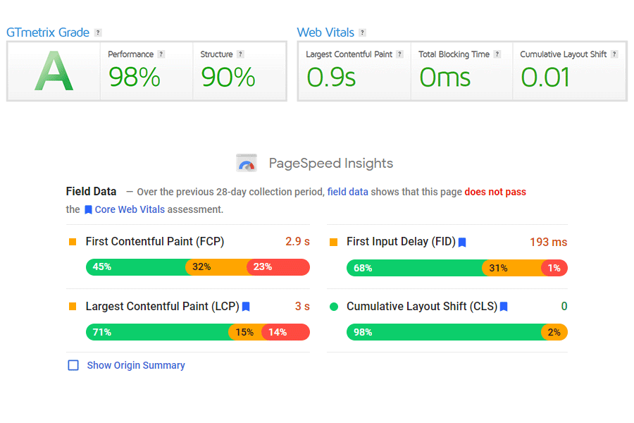 Speed testing comparison between GTmetrix and PageSpeed Insights.