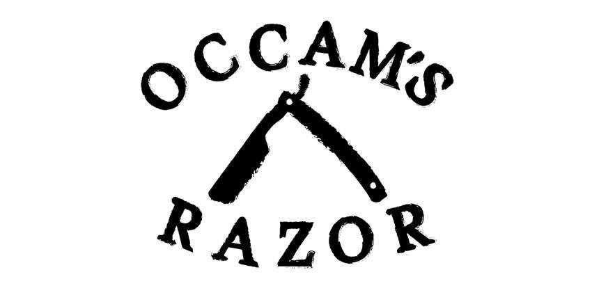 occam razor logo illustration black white brush