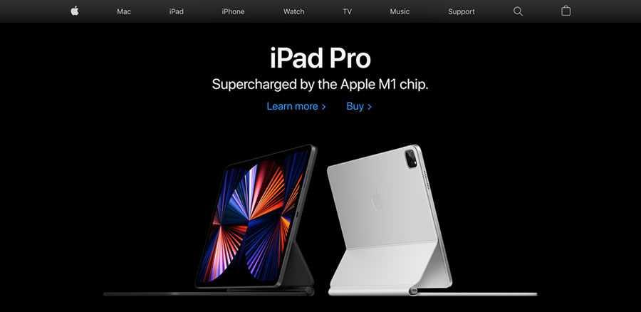 Apple homepage simple classic web design