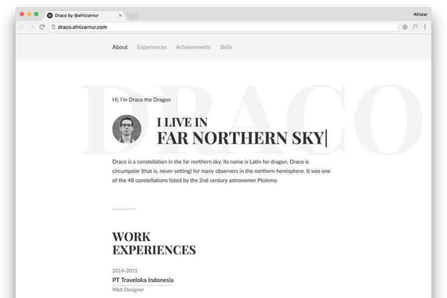 Draco free resume html templates cv