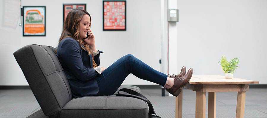 A woman having a phone conversation.