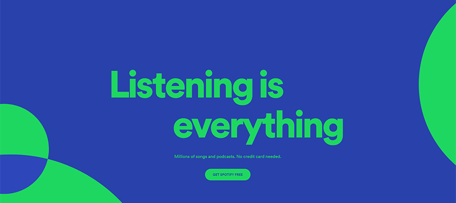 Spotify uses a simple hero area.