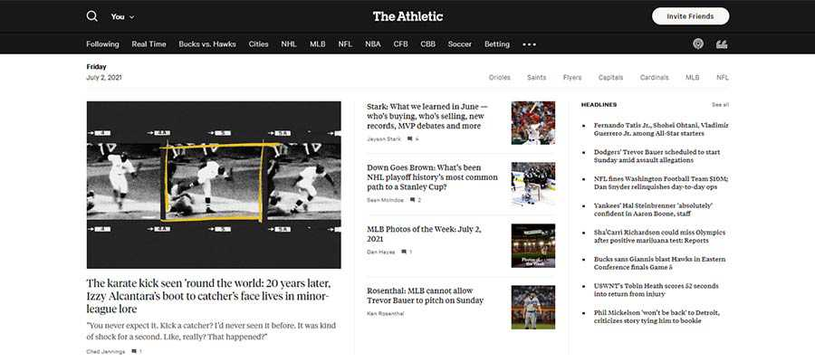 The Athletic uses a grid layout to feature top stories.