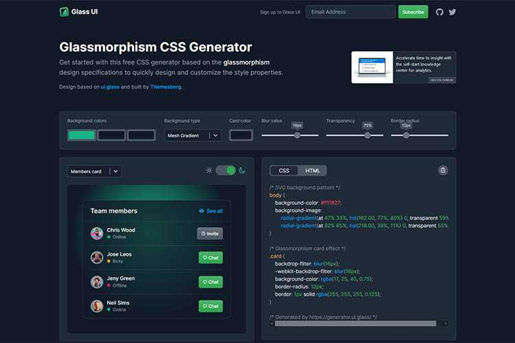 Example from Glassmorphism CSS Generator