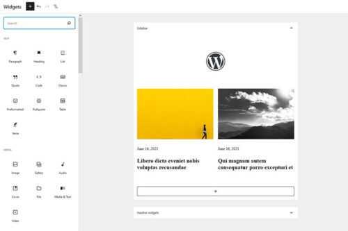 Example from The WordPress Widgets Screen Joins the Gutenberg Era