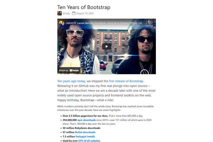 Example from Ten Years of Bootstrap