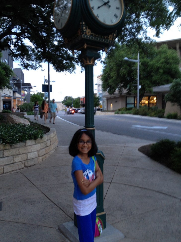 Wearing Justice Clothes at the Domain in Austin, Texas.
