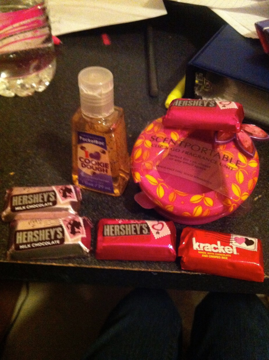 valentines day gift with hershey's, hand sanitizer and scent portable from bath and body works