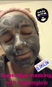 wearing GlamGlow Supermud Face Mask