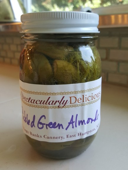 Pickled Green Almonds with Fennel and Red Pepper