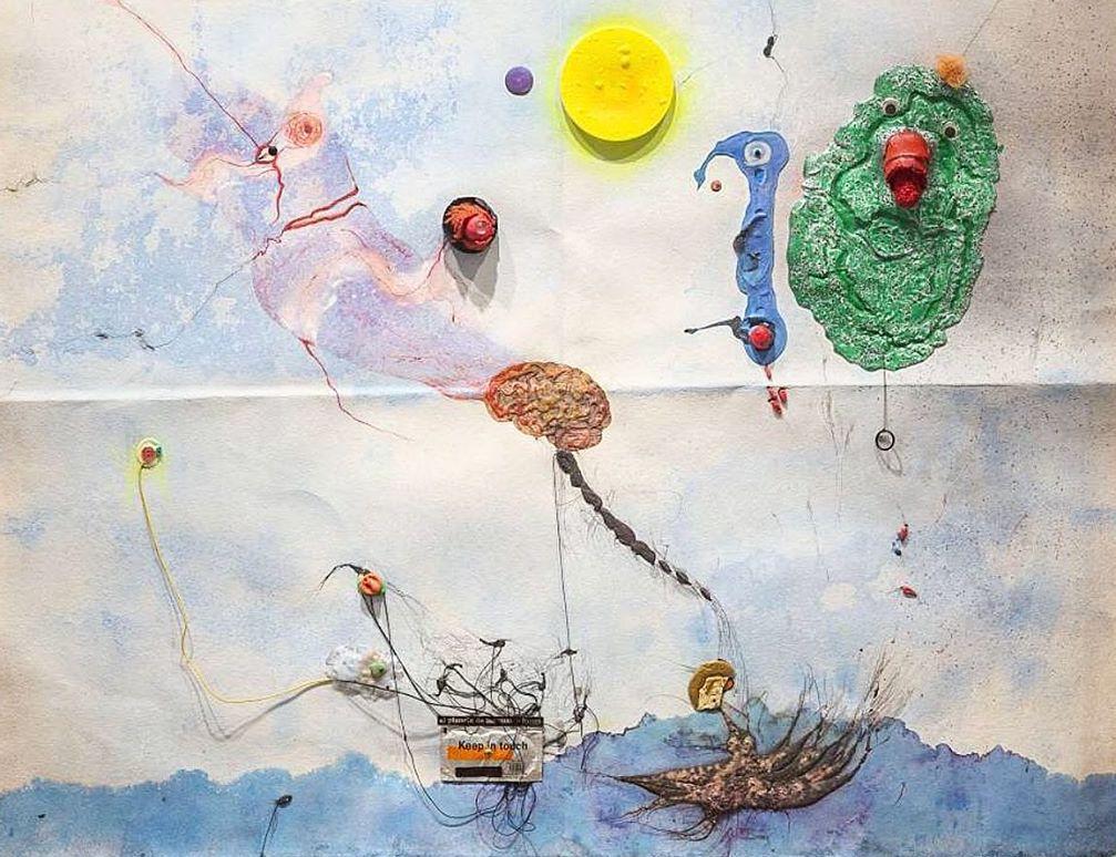 Evru/Zush El planeta de las cuatro lunas (The Planet of Four Moons), 2014 Mixed media on paper 130 × 156 cm Courtesy the artist.