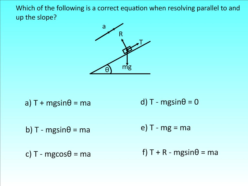 Resolving Using F Ma Hinge Questions
