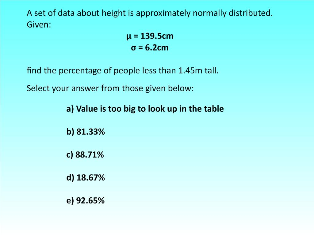 Standardised Normal Distribution Hinge Questions