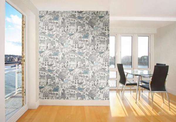 Обои города на стену: в интерьере фото, лондон с рисунком ...