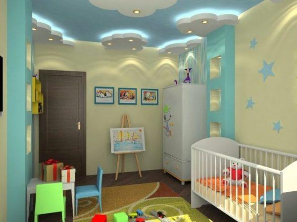 Натяжные потолки в детскую: фото для девочки в комнату ...