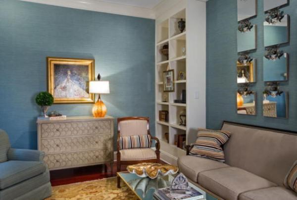 Голубые обои: для стен в интерьере, цвета и фото, светлые ...