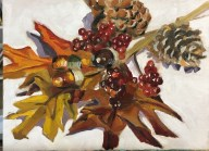 "Autumn Nosegay, oil on canvas board, 10"" x 8"""