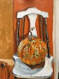 "Pumpkin, oil on canvas board, 8"" x 10"""