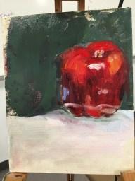 "Apple Study, Acrylic on canvas panel, 8"" x 10"""