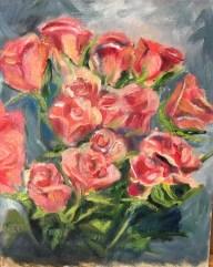 """Living Roses, Oil on Canvas Board, 10"""" x 8"""""""