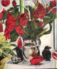 """Silver Pitcher with Birds, Oil on canvas, 16"""" x 2-"""""""