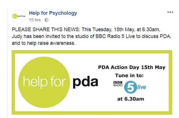 Tuesday, 15th May: Judy Eaton of Help 4 Psychology tells BBC Radio 5 Live why awareness of PDA (pathological demand avoidance, an autism profile) must increase
