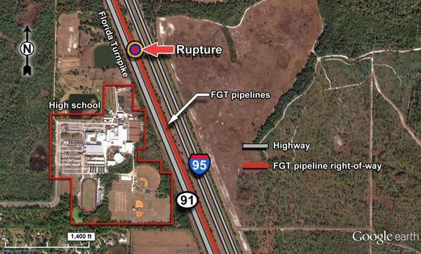 Rupture next to I-95 and high school