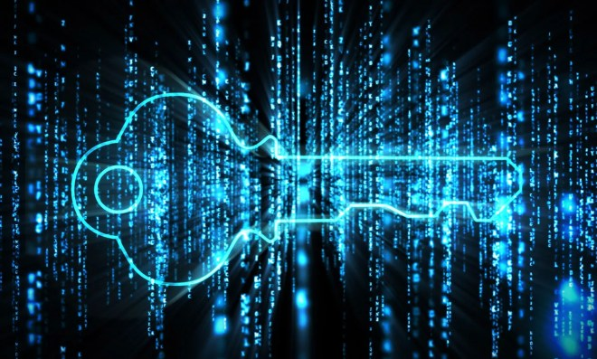 Conceptual illustration representing a quantum cryptography key.