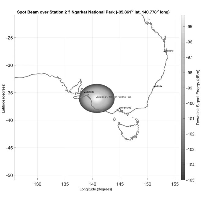 Map showing the radius of a satellite's coverage in an Australian national park