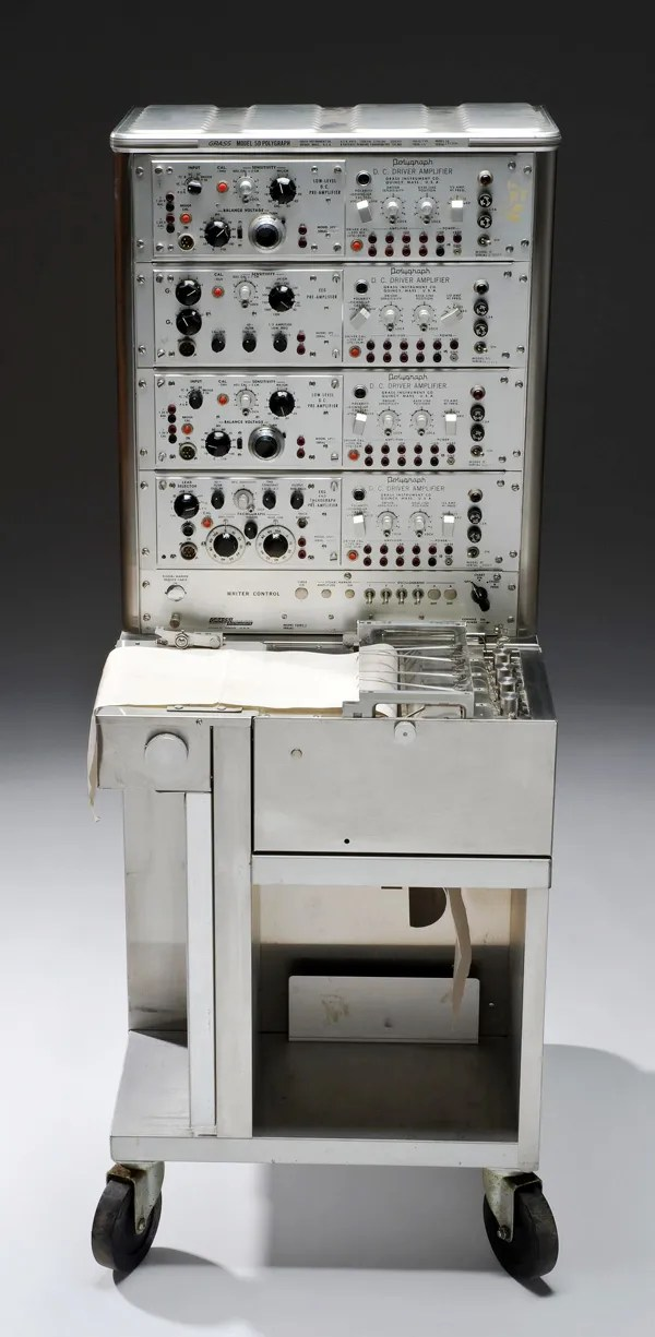 Photo of the 1960s-era polygraph machine, on display at the Science Museum in London.