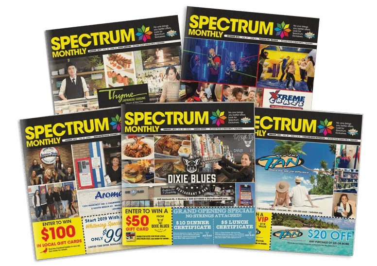 Spectrum Monthly Publications 5 Covers Array of Coupon Books