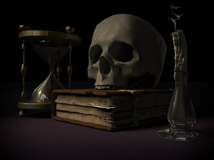 photo, writing prompt, skull, book, hourglass, candle