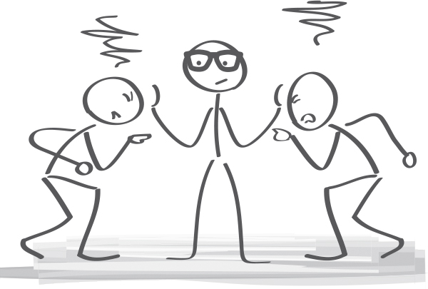Two persons arguing and a mediator