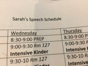speech schedule