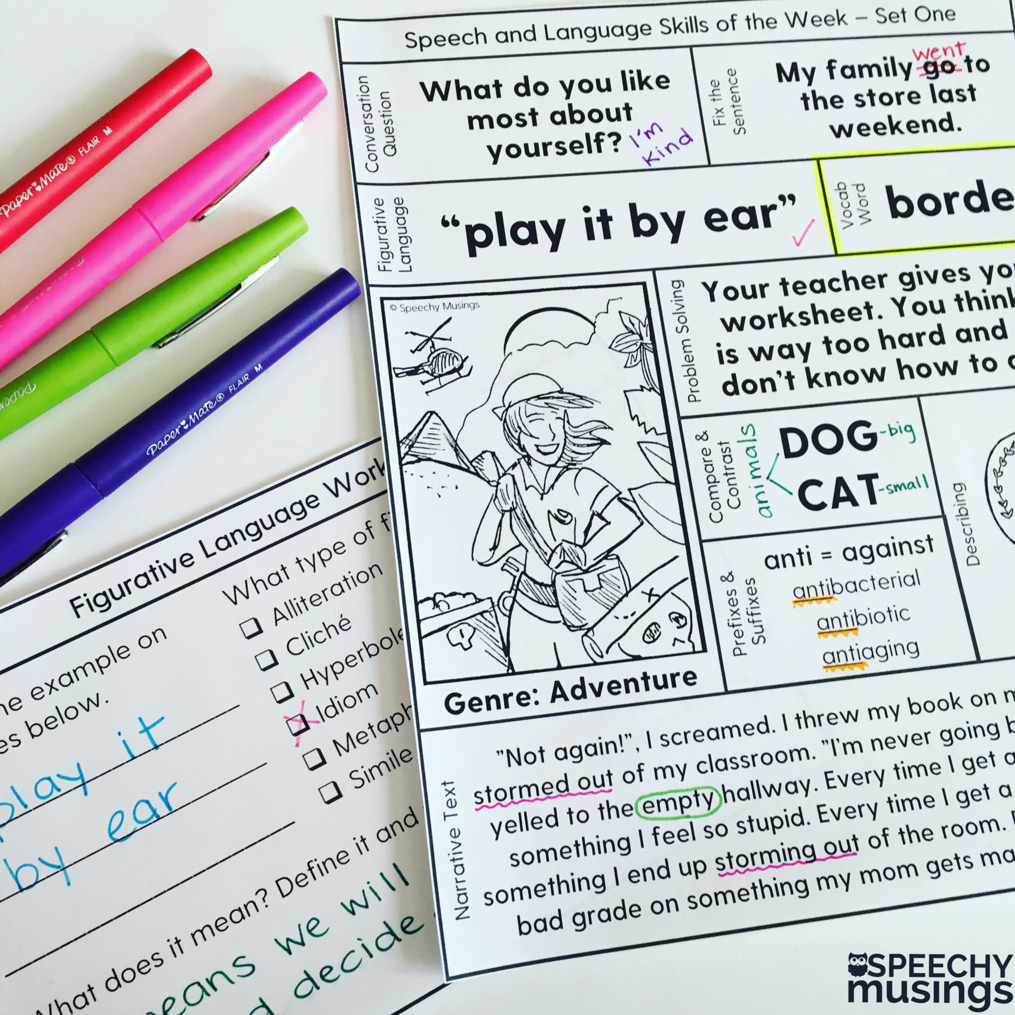 Speech Therapy Printables For Upper Grades One Page Lessons
