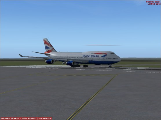 Preparing to depart from Runway 27L.