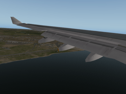 A view from the wing on final approach.