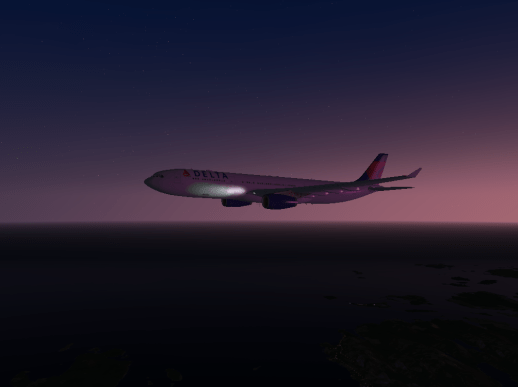 The Delta A330 flying into the night.