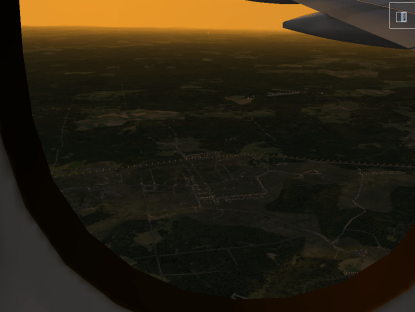 Flying by Freeport at sunset.